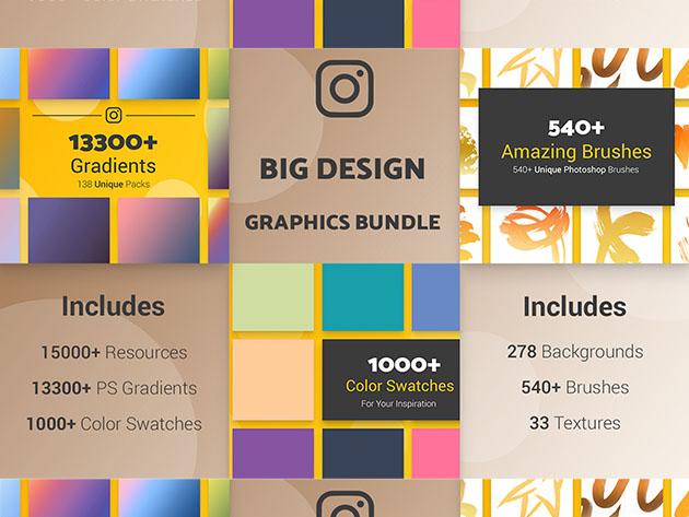 Big Design Graphic Bundle (15,000+ Resources) for $29