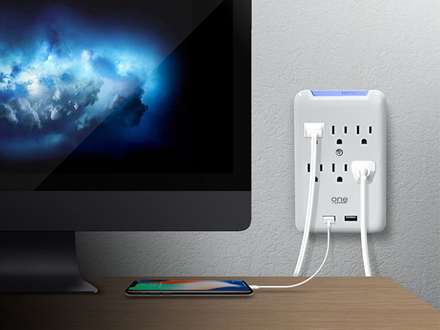 One Power Multi-Outlet/USB Surge Protector for $14