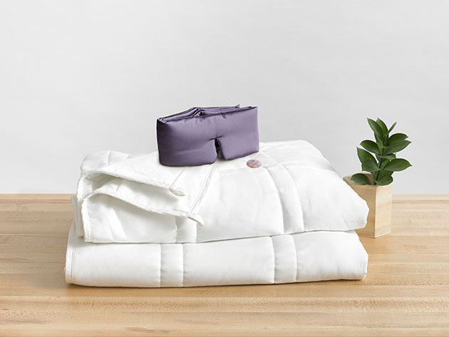 Deep Sleep Set: Cool Weighted Blanket & Amethyst Crystal Sleep Mask for $178
