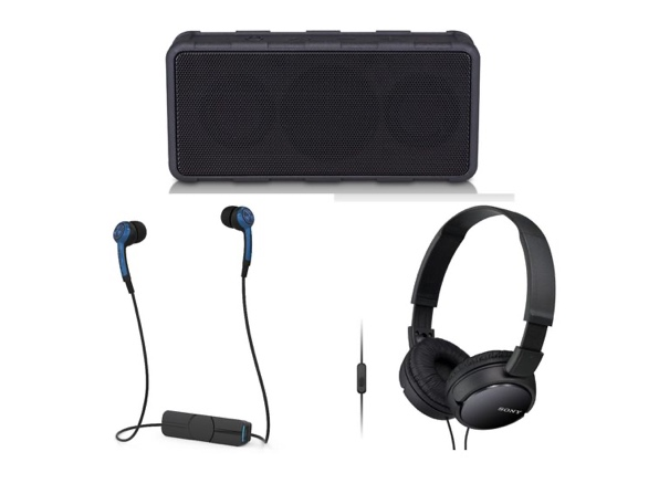 Rugged Wireless Speaker + Bluetooth Earbuds + Sony Headphones Bundle (New Open Box) for $39