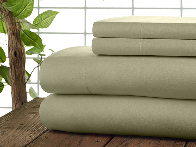 Kathy Ireland 4-Piece CoolMax Sheet Set (Sand/Queen) for $34
