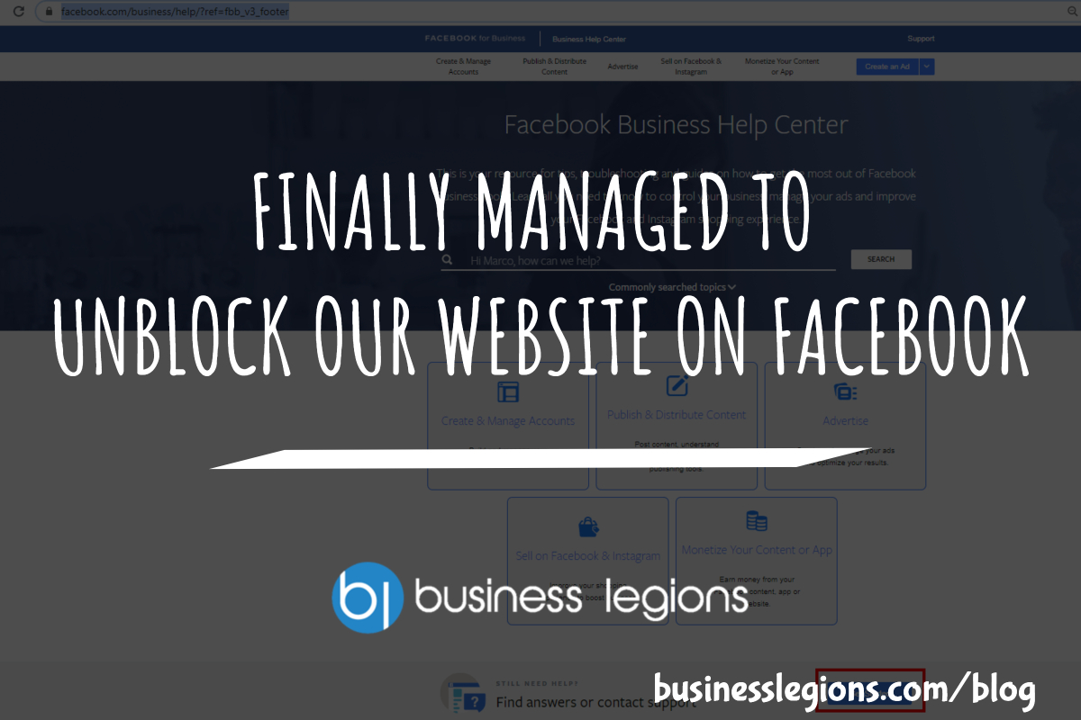 FINALLY MANAGED TO UNBLOCK OUR WEBSITE ON FACEBOOK