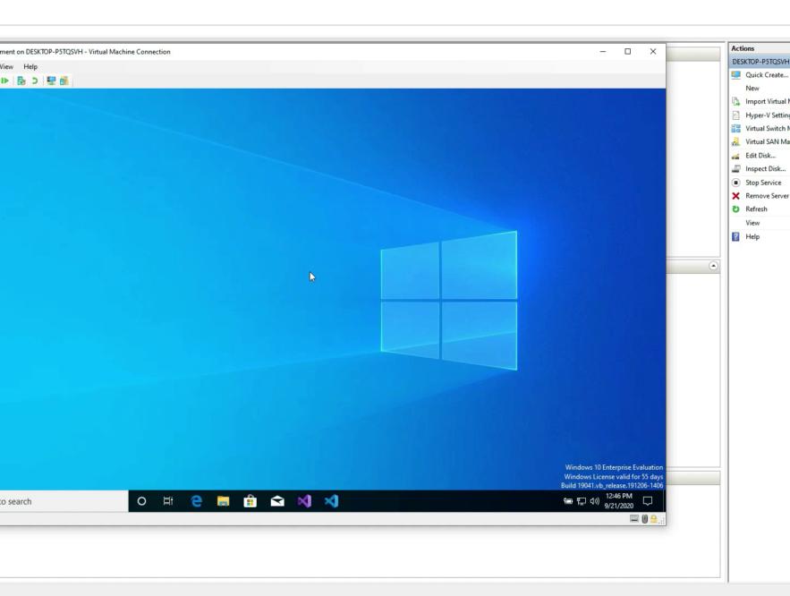 Business Legions CREATING VIRTUAL MACHINES Windows 10