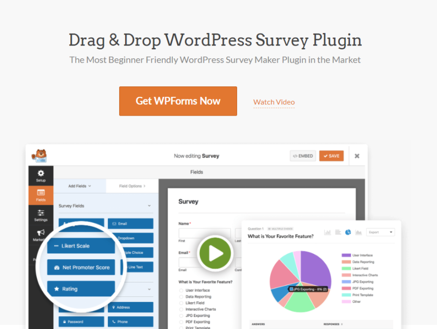 Business Legions looking for survey software WPForms website