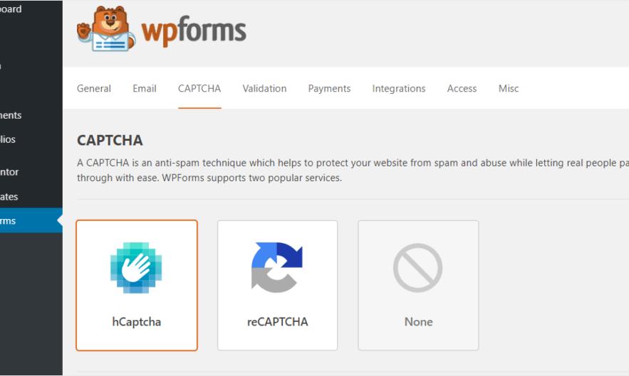 Business Legions WPForms hCaptcha integration