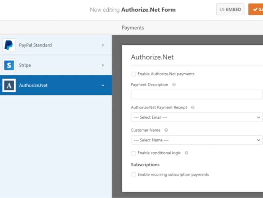Business Legions USING WPFORMS WITH AUTHORIZE.NET FOR SECURE PAYMENTS authorize net addon in action