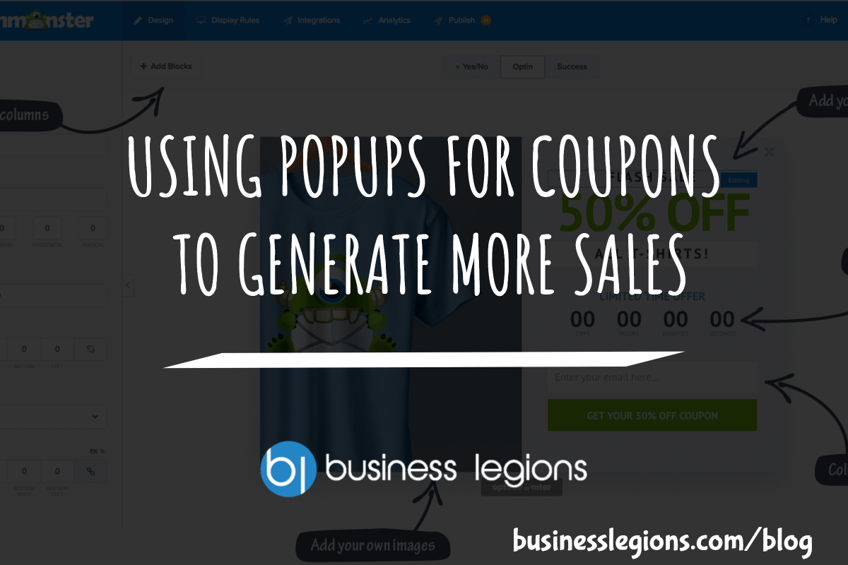 USING POPUPS FOR COUPONS TO GENERATE MORE SALES