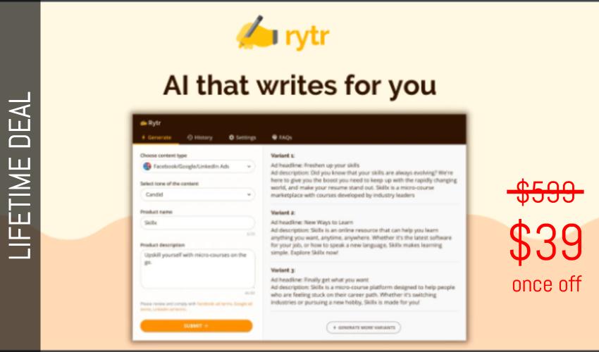 Rytr Lifetime Deal for $39